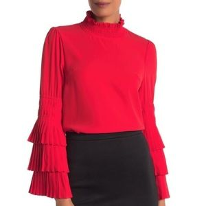Why Dress Tiered Pleated Bell Sleeve Blouse